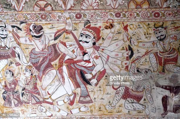 Wall painting mural hanuman fighting with ravana at Lakshminarayan temple, Orchha, Tikamgarh, Madhya Pradesh, India