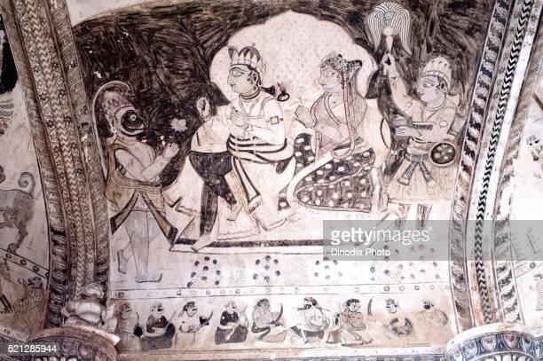 Wall painting mural ram and sita with hanuman at Lakshminarayan temple, Orchha, Tikamgarh, Madhya Pradesh, India