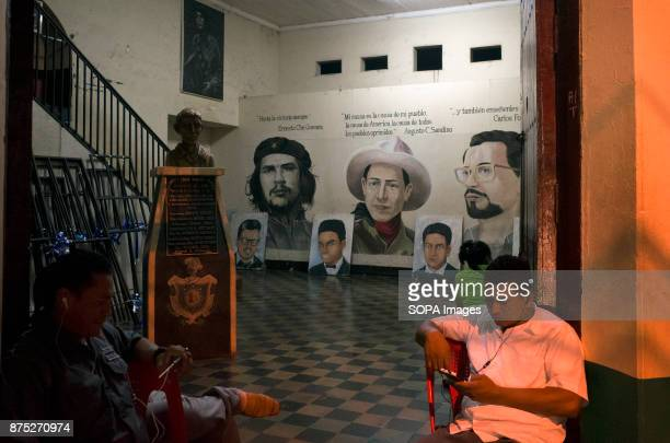 A wall painting of Augusto Sandino and Carlos Fonseca inside the Universidad Autonoma CUUN in Leon Sandino was a Nicaraguan revolutionary and leader...