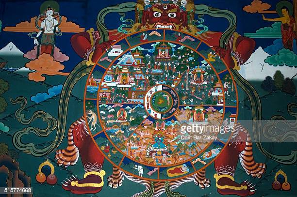 A wall painting of Buddhist Wheel of Life in the entrance hall to Rinpung dzong at Paro, Bhutan