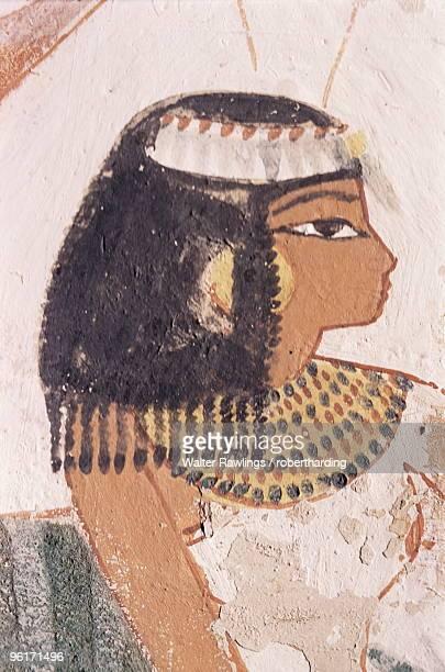 wall painting of daughter of nakht from hunt scene in the tomb of nakht, minister of agriculture in the reign of tutmosis iv, valley of the nobles, thebes, unesco world heritage site, egypt - antico egitto foto e immagini stock
