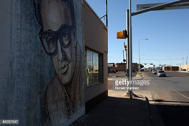 Wall painting of musician Buddy Holly in downtown Lubbock, Texas on November 8, 2008. Februray 3, 2009 will be the 50th anniversary of what is...