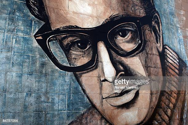 A wall painting of musician Buddy Holly in downtown Lubbock Texas on November 8 2008 Februray 3 2009 will be the 50th anniversary of what is referred...