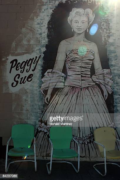 A wall painting of Peggy Sue which refers to a song by musician Buddy Holly in downtown Lubbock Texas on November 8 2008 Februray 3 2009 will be the...
