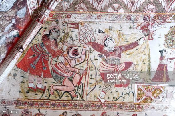 Wall painting ram hanuman lakshman fighting at Lakshminarayan temple, Orchha, Tikamgarh, Madhya Pradesh, India