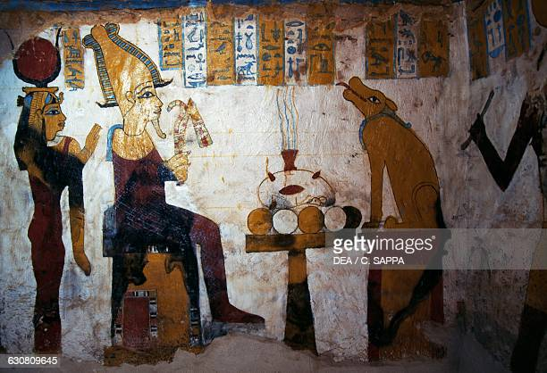 Wall painting with the scene of judgment of the deceased pillared hall 663525 BC Tomb of Pa Nentwy Bahariya Oasis Giza Egypt Egyptian civilisation...