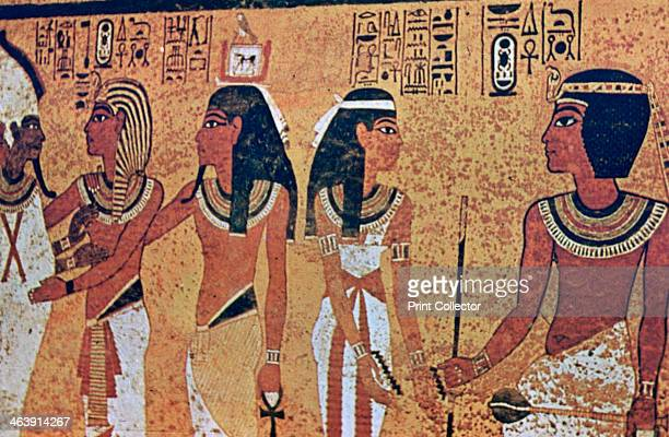 Wall paintings in the Tomb of Tutankhamun, Valley of the Kings, Luxor, Egypt.