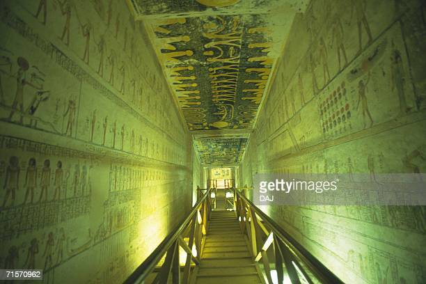 Wall paintings inide a tomb, Low Angle View