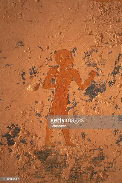 Wall paintings inide a tomb, Valley of the Kings, Egypt, Close Up