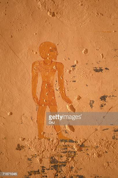 Wall paintings inside a tomb, Valley of the Kings, Egypt, Close Up