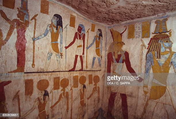 Wall paintings with deities 663525 BC Tomb of Pa Nentwy Bahariya Oasis Giza Egypt Egyptian civilisation Dynasty XXVI