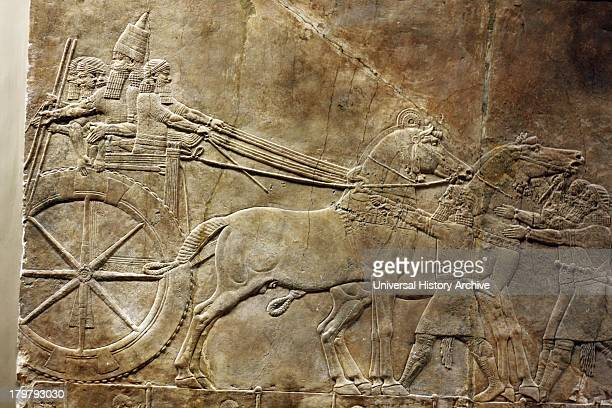 Wall panel depicting the royal lion hunt Grooms lead horses towards an enclosure Assyrian circa 645635 BC From the North Palace in Nineveh