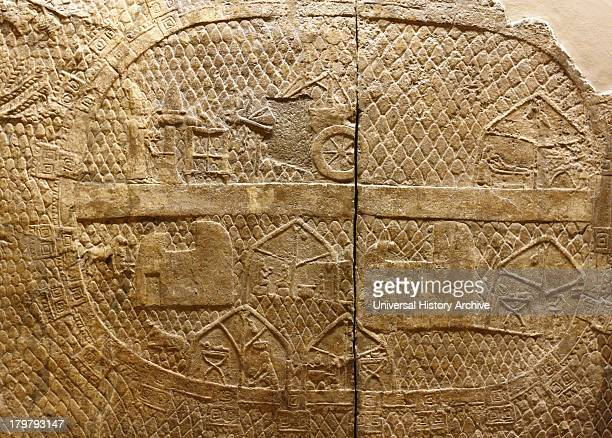 Wall panel showing the Assyrian camp. Assyrian, approximately 700-692 BC. From the South-West Palace in Nineveh. Part of the Lachish series, showing...