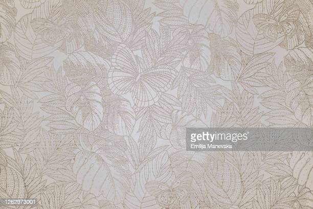 wall paper with flowers and butterfly - floral pattern photos et images de collection