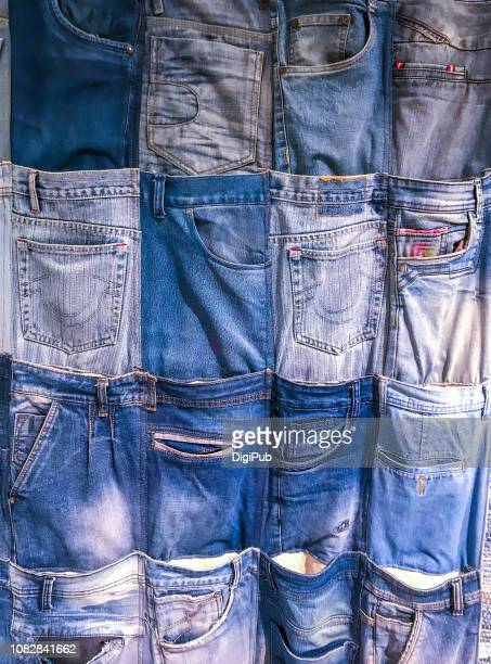 wall pockets made of recycled denim jeans - デニム ストックフォトと画像