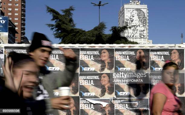 Wall posters reading 'For Us It's Her' in reference to former Argentine President Cristina Kirchner in downtown Buenos Aires Argentina on June 14...
