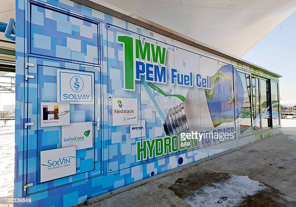 A wall printed presents the world's biggest proton exchange membrane Fuel Cell developed by Belgian chemicals giant Solvay and the consortium...