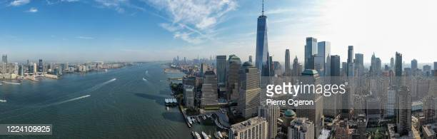 wall street along hudson river aerial panorama, new york, usa - river hudson stock pictures, royalty-free photos & images