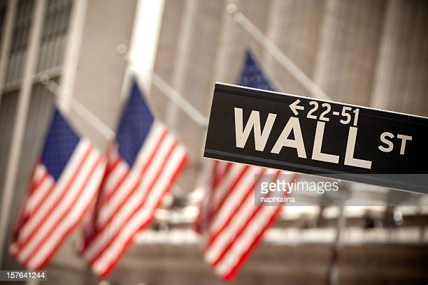 Wall Street and american flag