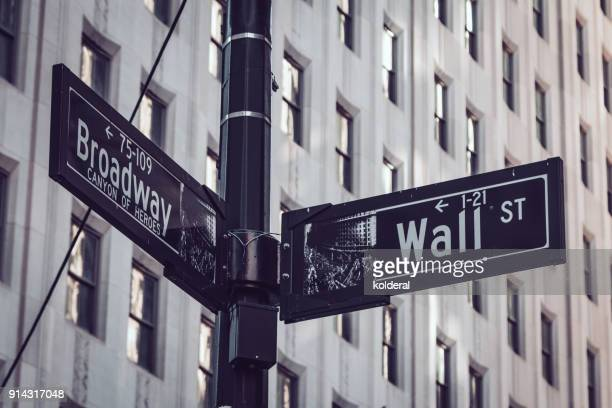 wall street and broadway streets signs - wall street lower manhattan stock pictures, royalty-free photos & images