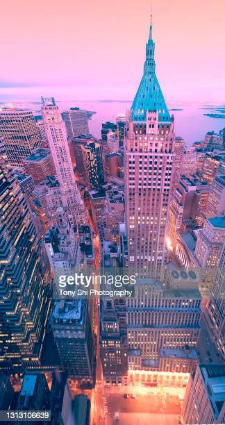 40 wall street bulding, lower manhattan, nyc - new york harbour stock pictures, royalty-free photos & images
