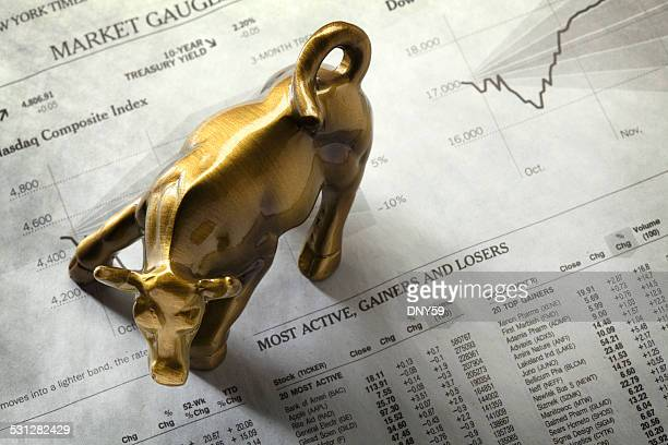 wall street bull - stock certificate stock pictures, royalty-free photos & images