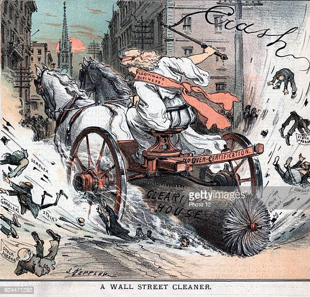 Wall Street cleaner by Joseph Ferdinand Keppler 18381894 artist Published 1884 Illustration shows a woman labelled 'Legitimate Business' cracking a...