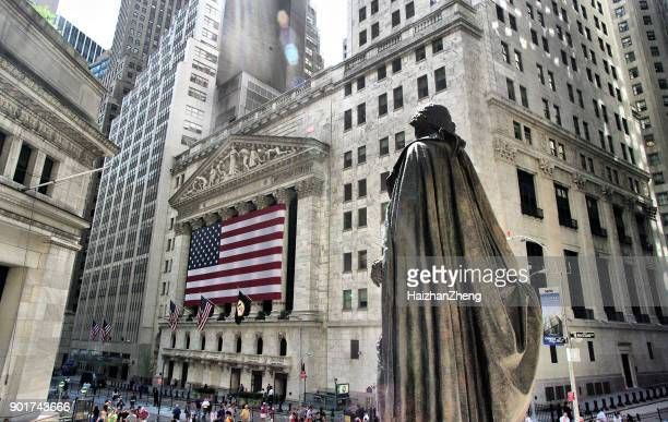 wall street in new york - wall street stock photos and pictures