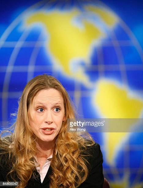 Wall Street Journal columnist and editorial board member Kimberley Strassel speaks during a taping of Meet the Press at the NBC studios February 15...