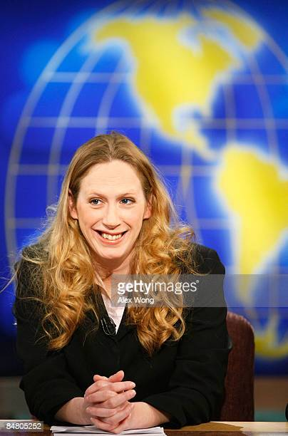 Wall Street Journal columnist and editorial board member Kimberley Strassel smiles during a taping of Meet the Press at the NBC studios February 15...