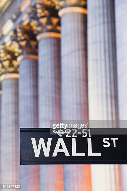wall street sign and new york stock exchange - new york stock exchange stock pictures, royalty-free photos & images