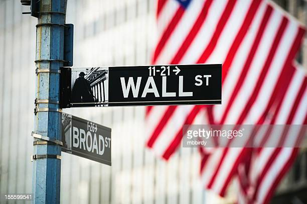 wall-street-schild, new york city, usa - wall street stock-fotos und bilder