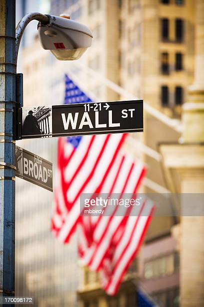 wall street sign, new york city, usa - new york stock exchange stock pictures, royalty-free photos & images