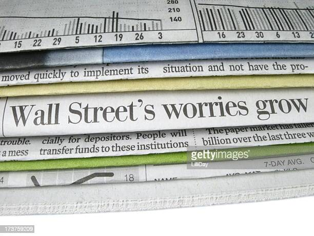 wall street worries headline - bailout stock pictures, royalty-free photos & images