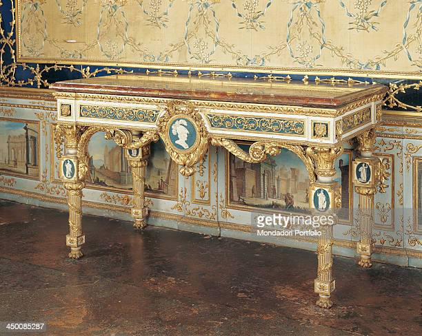 Wall table by Giuseppe Maria Bonzanigo 18th Century wood carved partially gilded and painted marble top 90 x 151 x 74 cm