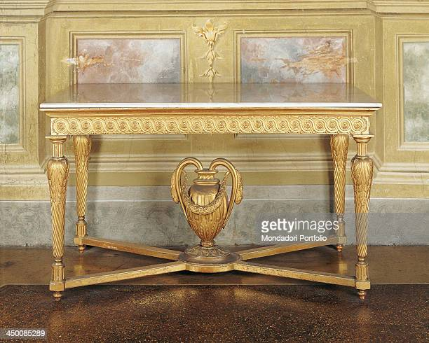 Wall table by parmensan manifactory 18th Century wood carved and gilded marble top
