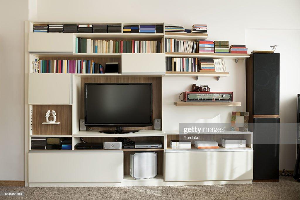 TV Wall Unit Bookshelf Stock Photo