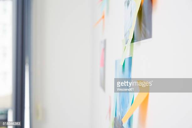 Wall with adhesive notes