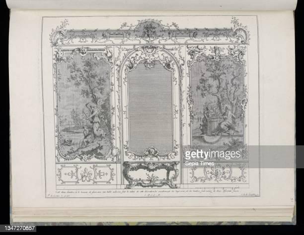 Wall with Central Mirror, Console Table, and Tapestries, Nouveaux desseins de Lambris , François de Cuvilliés the Elder, Belgian, active Germany,...