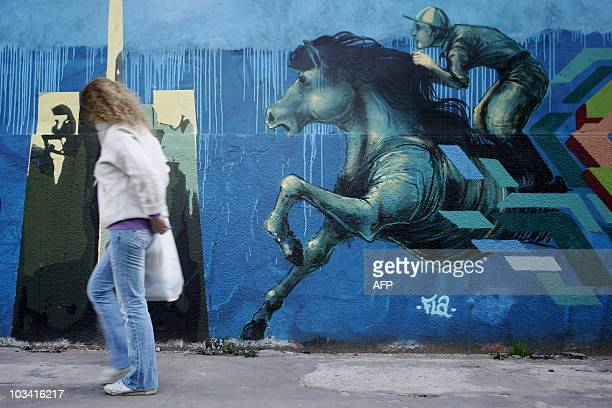 A wall with graffiti in Buenos Aires on July 8 2010 AFP PHOTO/ Maxi Failla