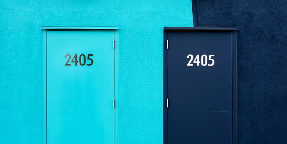 Wall with numbered doors - gettyimageskorea
