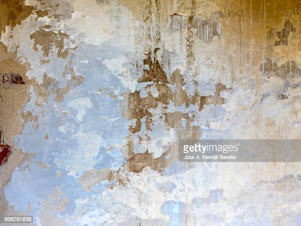 wall with peeling blue and white paint with cracks and dampness. high resolution photography. - rotting stock pictures, royalty-free photos & images