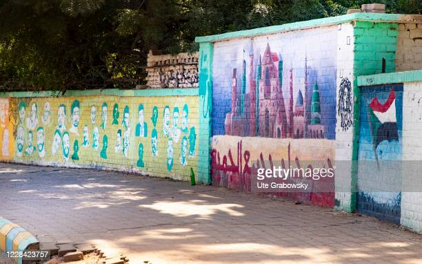 Wall with pictures is used as a Memorial for the victims of the revolution in Sudan on February 06, 2020 in Kharoum, Sudan.