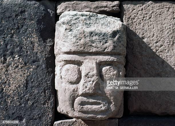 Wall with stone head archaeological site of Tiwanaku Bolivia Tiwanaku Civilisation