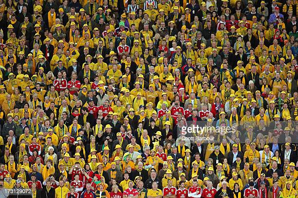 Wallabies and Lions supporters watch in the crowd during the International Test match between the Australian Wallabies and British Irish Lions at ANZ...