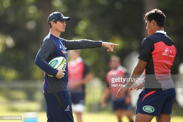 Wallabies attack coach Stephen Larkham talks to players during a Wallabies training session at Moore Park on August 2 2018 in Sydney Australia