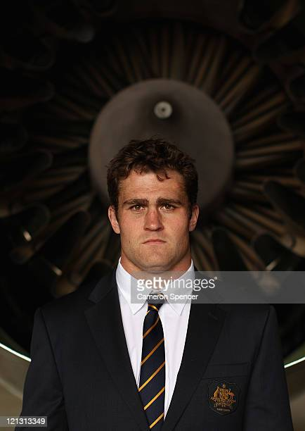Wallabies captain James Horwill poses during an Australian Wallabies 2011 Rugby World Cup Squad portrait session at Sydney International Airport on...