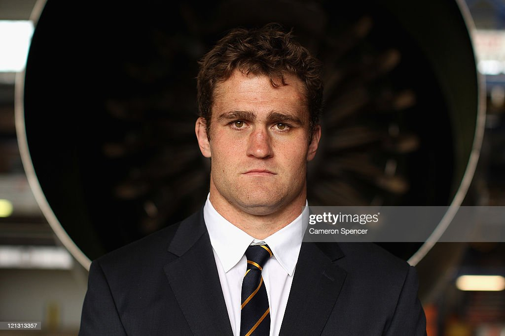 Wallabies captain James Horwill poses during an Australian Wallabies 2011 Rugby World Cup Squad portrait session at Sydney International Airport on August 18, 2011 in Sydney, Australia.