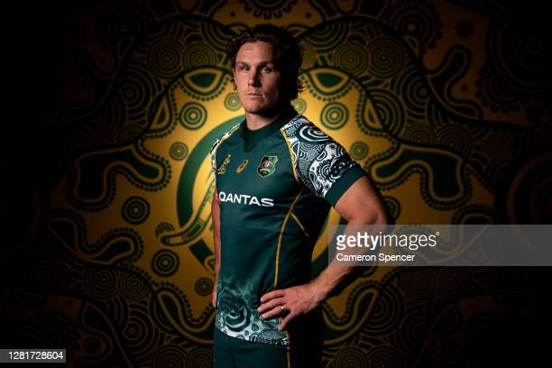 Wallabies captain Michael Hooper poses during the Australian Wallabies 2020 First Nations Jersey portrait session on October 22 2020 in the Hunter...