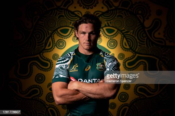 Wallabies captain Michael Hooper poses during the Australian Wallabies 2020 First Nations Jersey portrait session on October 22, 2020 in the Hunter...